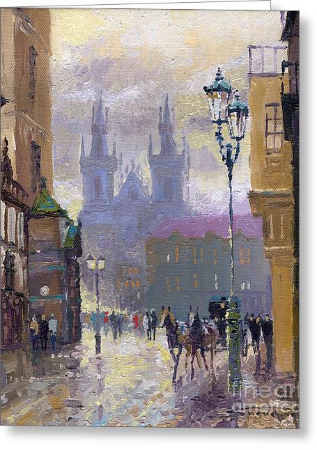 Cabs Greeting Cards - Prague Old Town Square  Greeting Card by Yuriy  Shevchuk