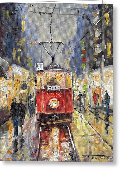 Old Light Greeting Cards - Prague Old Tram 08 Greeting Card by Yuriy  Shevchuk