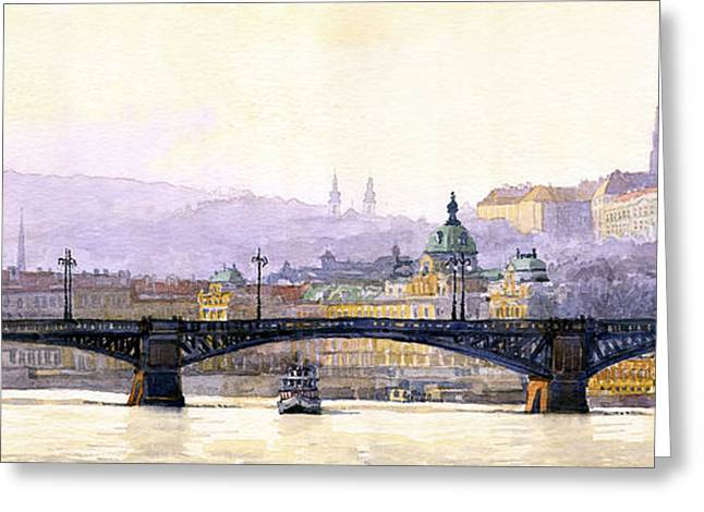 Prague Paintings Greeting Cards - Prague Panorama Cechuv Bridge variant Greeting Card by Yuriy  Shevchuk