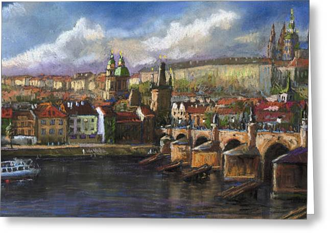 Europe Pastels Greeting Cards - Prague Panorama Charles Bridge Prague Castle Greeting Card by Yuriy  Shevchuk