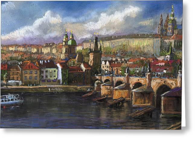 Prague Panorama Charles Bridge Prague Castle Greeting Card by Yuriy  Shevchuk
