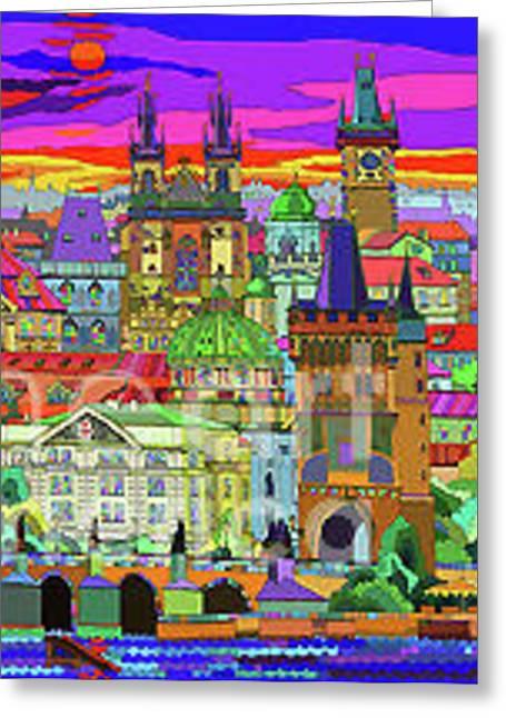 Buildings Mixed Media Greeting Cards - Prague Panorama Old Town Greeting Card by Yuriy  Shevchuk
