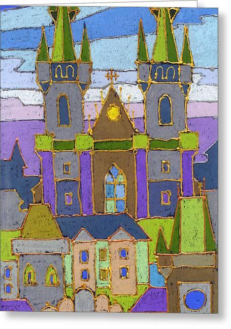 Pastel Greeting Cards - Prague Panorama Greeting Card by Yuriy  Shevchuk