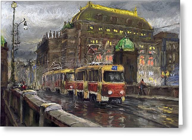 Bridge Pastels Greeting Cards - Prague Tram Legii Bridge National Theatre Greeting Card by Yuriy  Shevchuk