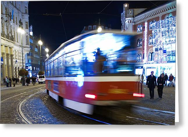 Blurs Greeting Cards - Prague tram Greeting Card by Stylianos Kleanthous