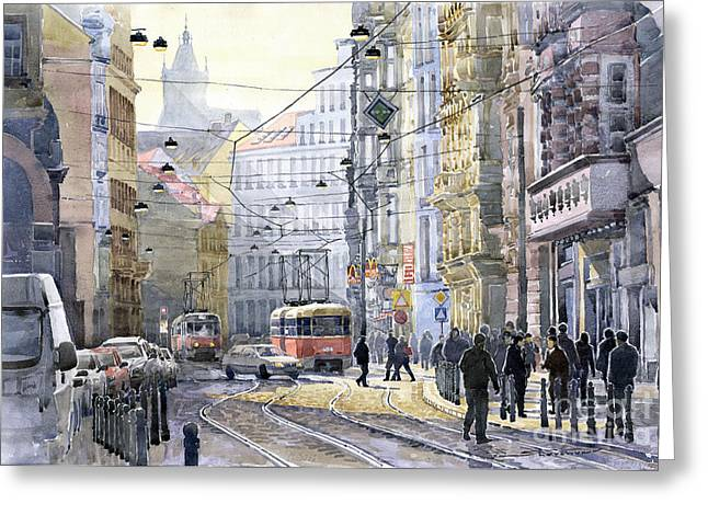 Old Light Greeting Cards - Prague Vodickova str Greeting Card by Yuriy  Shevchuk