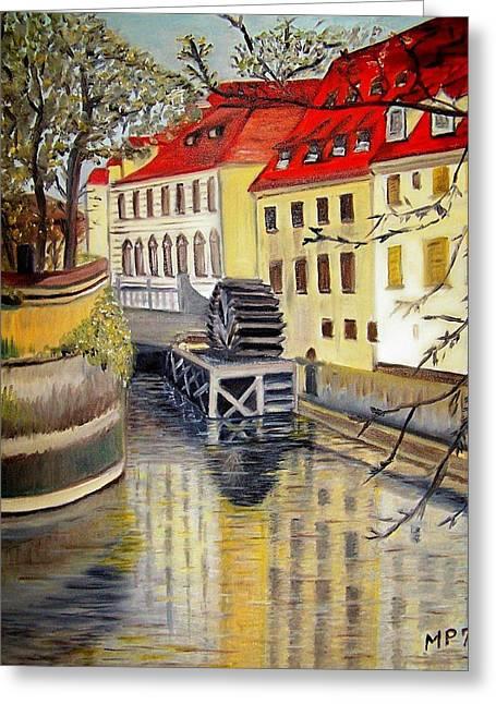 Prague Paintings Greeting Cards - Prague Watermill Greeting Card by Madeleine Prochazka