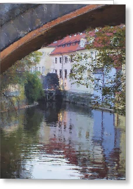 Praha Digital Art Greeting Cards - Praha Canal Dusk Greeting Card by Shawn Wallwork