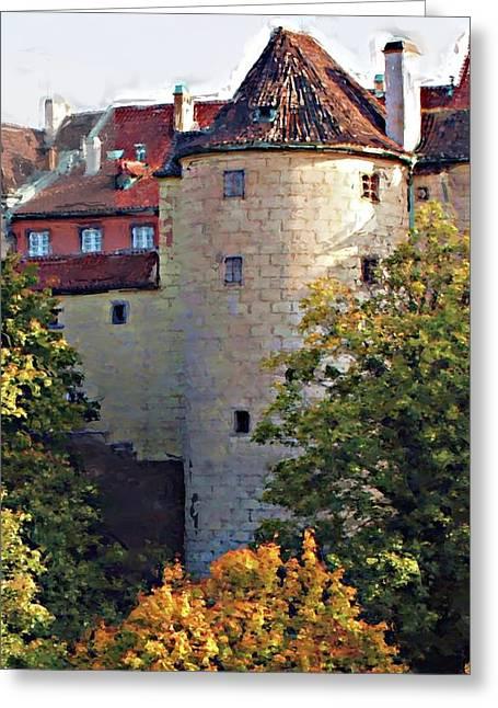 Praha Digital Art Greeting Cards - Praha Castle Greeting Card by Shawn Wallwork