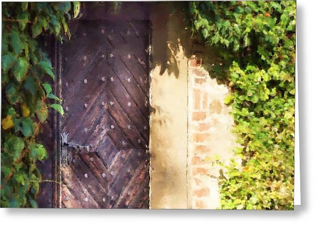 Praha Digital Art Greeting Cards - Praha Garden Door Greeting Card by Shawn Wallwork
