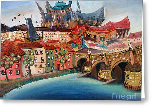 Prague Paintings Greeting Cards - Praha I. Greeting Card by Lucia Chocholackova