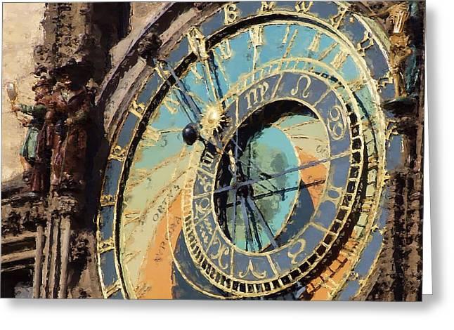 Praha Orloj Greeting Card by Shawn Wallwork