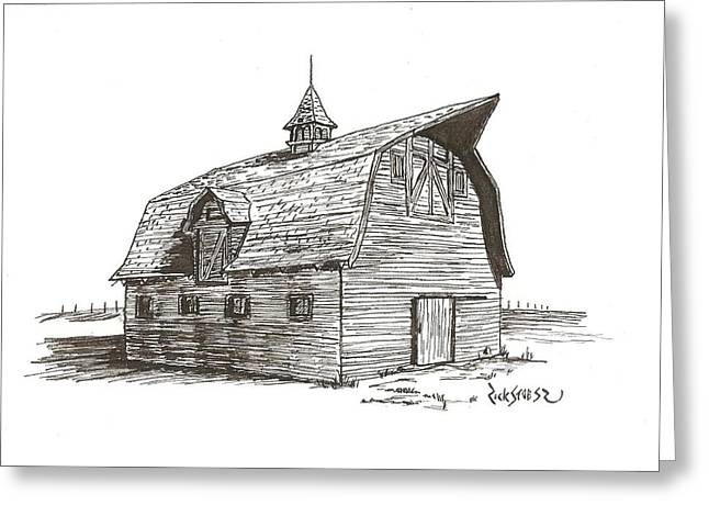 Old Barn Pen And Ink Greeting Cards - Prairie Barn Greeting Card by Rick Stoesz