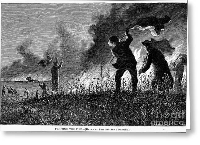 1874 Greeting Cards - Prairie Fire, 1874 Greeting Card by Granger