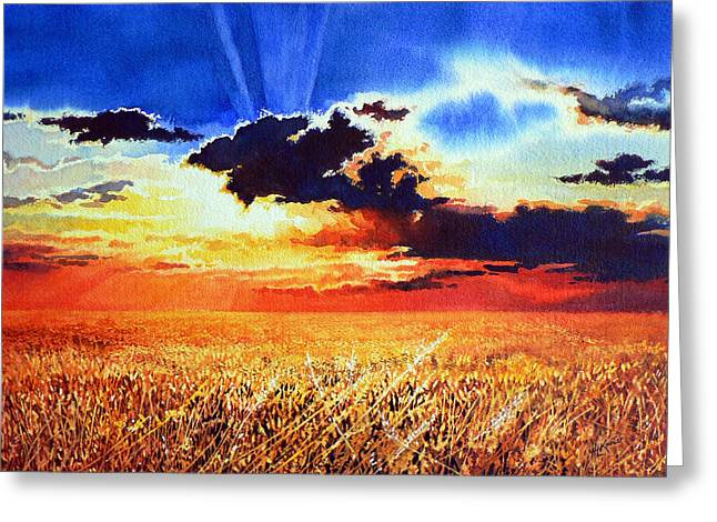 Storm Prints Paintings Greeting Cards - Prairie Gold Greeting Card by Hanne Lore Koehler
