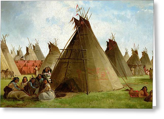 Male Native American Standing Greeting Cards - Prairie Indian Encampment Greeting Card by John Mix Stanley