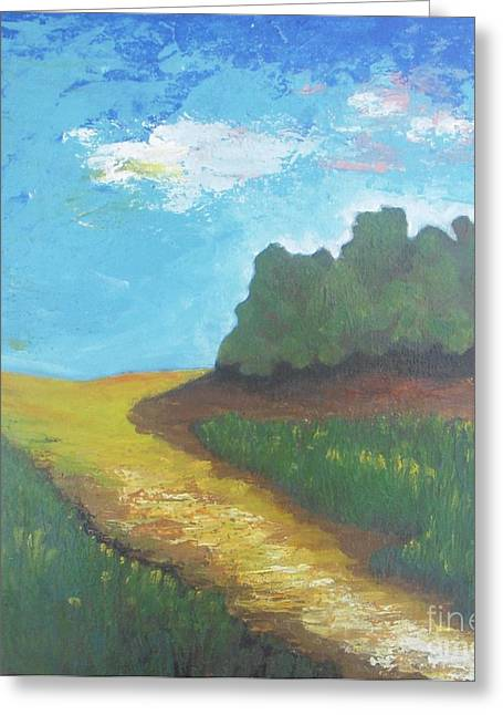 Pallet Knife Greeting Cards - Prairie-Original pallet knife painting on stretched canvas- 12x12x0.75 Greeting Card by Vesna Antic