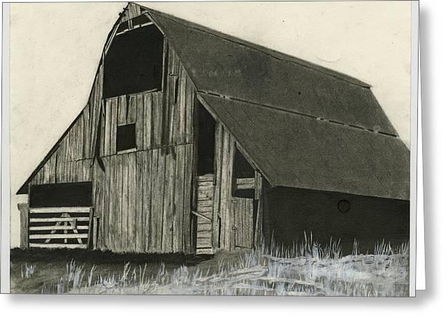 Drawings Of Barns Greeting Cards - Prairie Overlook Greeting Card by Bryan Baumeister