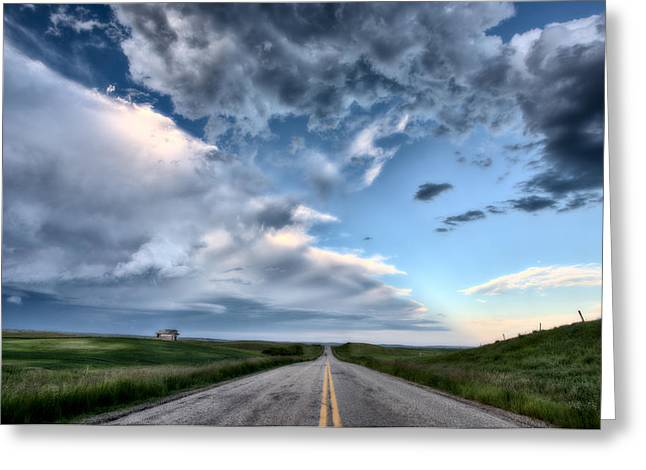 Field. Cloud Digital Art Greeting Cards - Prairie Road and School House Greeting Card by Mark Duffy