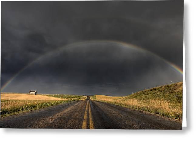 Summer Storm Digital Art Greeting Cards - Prairie Storm Rainbow Saskatchewan Greeting Card by Mark Duffy
