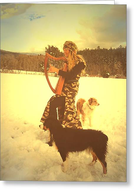 Dogs In Snow. Digital Art Greeting Cards - Praise Him With The Harp And All Ye Shepherd Dogs Greeting Card by Anastasia  Ealy