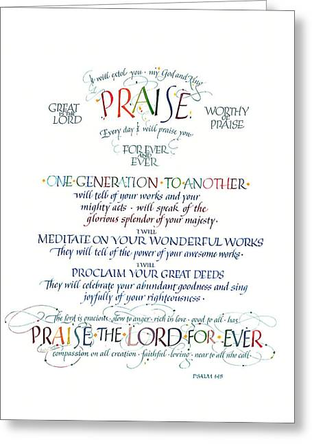 Jewel Tone Greeting Cards - Praise Psalm 145 Greeting Card by Judy Dodds