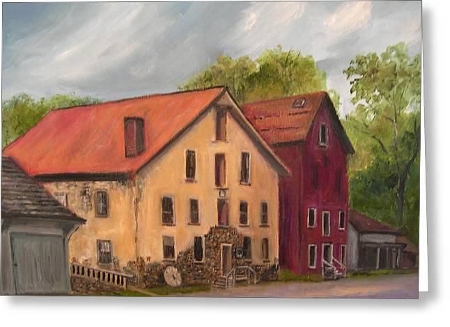 Stockton Paintings Greeting Cards - Prallsville Mills Stockton Greeting Card by Aurelia Nieves-Callwood
