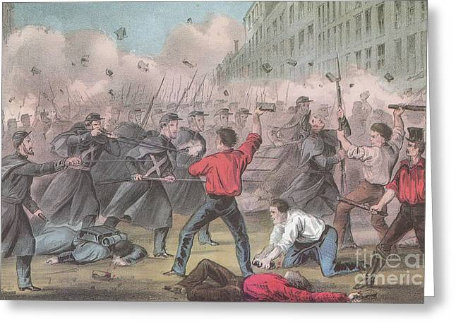 Police Art Greeting Cards - Pratt Street Riot, 1861 Greeting Card by Photo Researchers