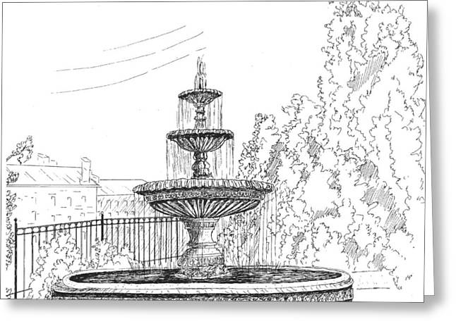 Downtown Drawings Greeting Cards - Prattville Fountain Greeting Card by Barney Hedrick