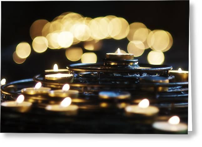 Prayer Candles Greeting Card by Beth Riser