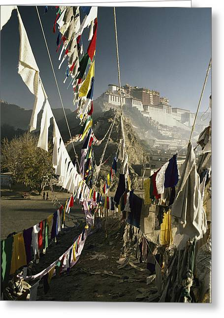 Prayer Flags Hang In The Breeze Greeting Card by Gordon Wiltsie