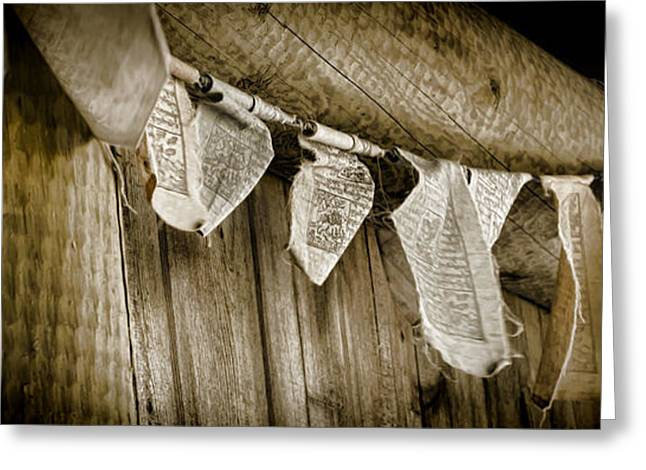Tibetan Buddhism Greeting Cards - Prayer Flags Greeting Card by Heather Applegate