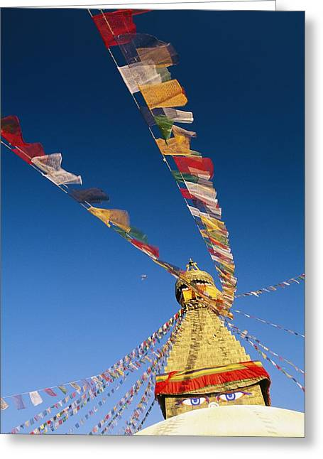 Devotional Art Photographs Greeting Cards - Prayer Flags Wave In The Breeze Greeting Card by Michael Melford