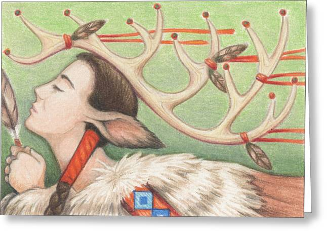 Aceo Drawings Greeting Cards - Prayer Of Elk Woman Greeting Card by Amy S Turner
