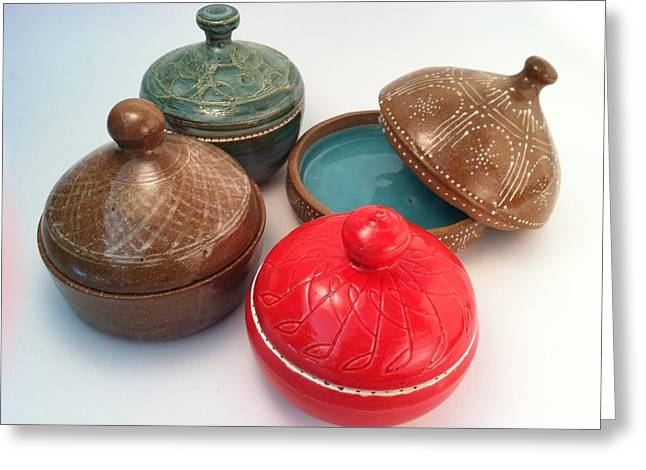 Hand Thrown Pottery Greeting Cards - Prayer Pots Greeting Card by Carolyn Coffey Wallace