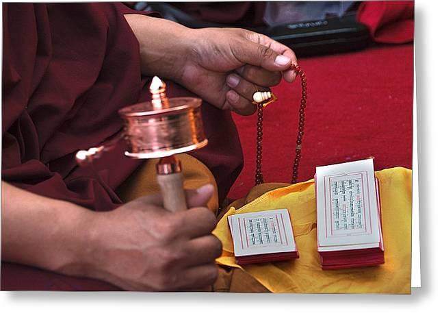 Prayer Beads Greeting Cards - Prayer Time Greeting Card by Mukesh Srivastava