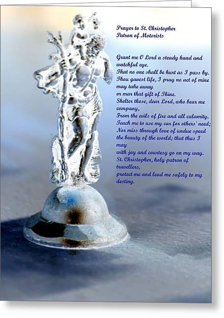 Saint Christopher Greeting Cards - Prayer to St Christopher Greeting Card by Maria Urso