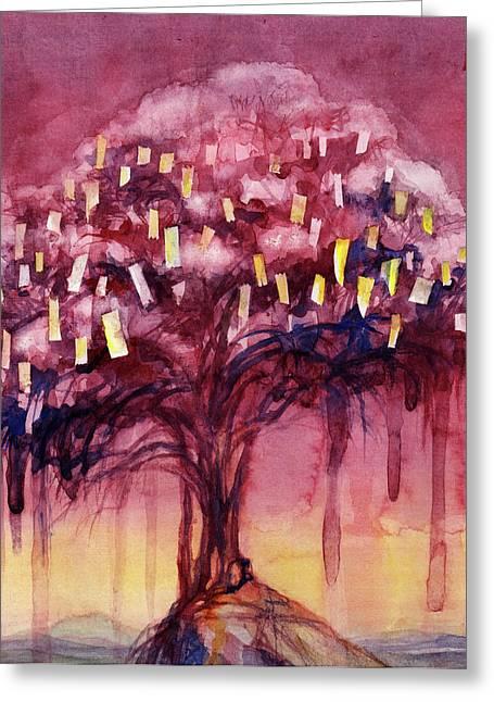 Drip Paintings Greeting Cards - Prayer Tree II Greeting Card by Janet Chui