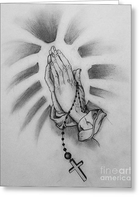 Rosary Drawings Greeting Cards - Praying Hands Greeting Card by Holly Hunt