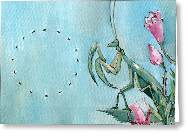 Nippers Greeting Cards - PRAYING MANTIS and FLIES in CIRCLE Greeting Card by Fabrizio Cassetta
