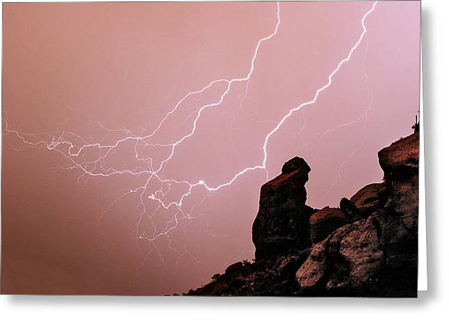 Praying Monk Camelback Mountain Lightning Monsoon Storm Image Greeting Card by James BO  Insogna