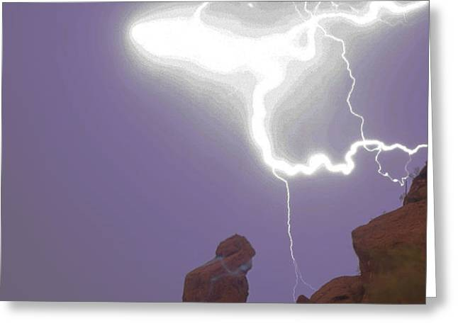 Praying Monk Lightning Halo Monsoon Thunderstorm Photography Greeting Card by James BO  Insogna