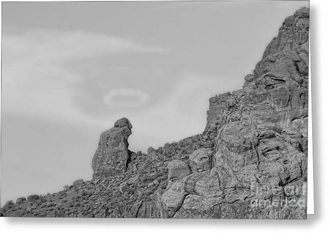 Camelback Mountain Greeting Cards - Praying Monk with Halo Camelback Mountain BW Greeting Card by James BO  Insogna