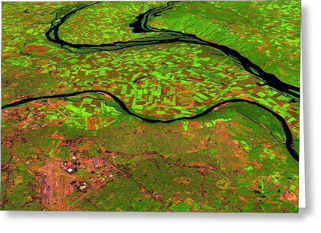 Pre-flood Rivers Greeting Card by Nasagoddard Space Flight Center