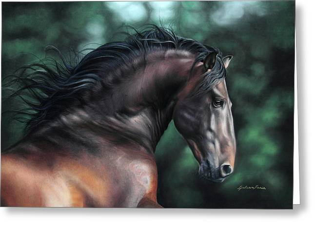 Horse Art Pastels Pastels Greeting Cards - Pre Platero through Christiane Slawiks eyes Greeting Card by Lilian Faria