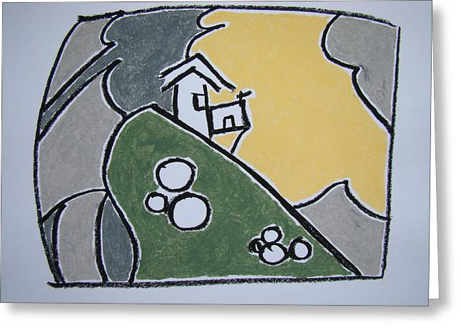 The Hills Pastels Greeting Cards - Precarious Homestead Greeting Card by Pat  Lackenbauer