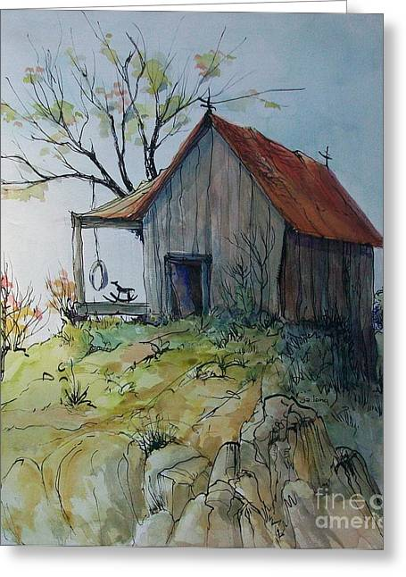 Barn Pen And Ink Greeting Cards - Precarious Greeting Card by Judith A Smothers
