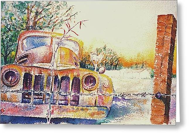 Rusted Cars Paintings Greeting Cards - Precious Memories Greeting Card by Curtis James