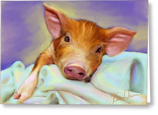 Piglets Greeting Cards - Precious Piggy Greeting Card by Karen Derrico
