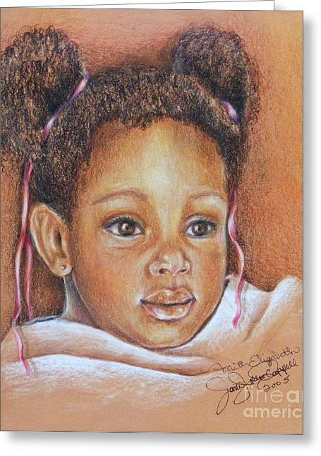 African-american Drawings Greeting Cards - Precious Promise Greeting Card by Jane Jolly Chappell